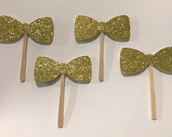 Bow Tie Cupcake Toppers | Double or Single Sided | Glitter | Set of 12 | 2""