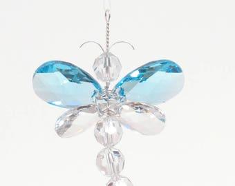 Swarovski Crystal Suncatcher Rear View Mirror Charm Blue Dragonfly Mobile Nursery Decor Car Charm Baby Boy Nursery Gift Idea Window Charm