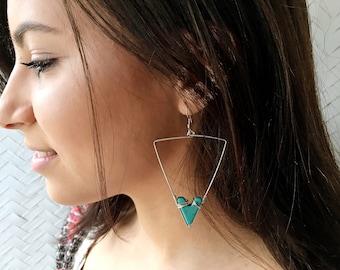 Handmade Turquoise Earrings, Arrow Earrings, Boho, Turquoise Jewelry,Statement Earrings,Wire Wrapped Jewelry,Gold,Sterling Silver,Arrowhead