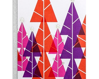 Christmas Trees Silver Foiled - Pink