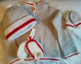 Set 0-4 month baby knitting pattern