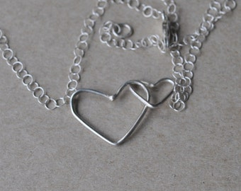 Sterling Silver Mommy and Me Necklace - Double Hearts Necklace