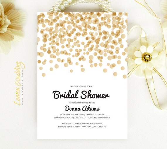 Gold Bridal Shower Invitations Cheap Wedding Shower
