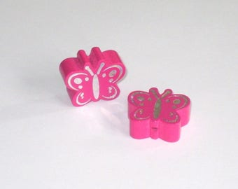 8 standard hot pink shiny Butterfly wood beads that