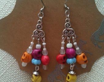 Day of the dead dangle earrings