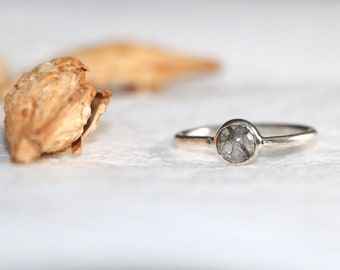 Black Rutile Quartz Ring-Beautiful Round Shape Stone Ring -Silver Rutile Ring-Silver Ring-Gemstone-Gift To her- Rutile Ring-Staking Ring#42