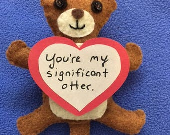 Significant Otter Valentine's Day felt ornament