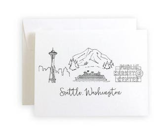 Seattle, Washington Skyline Greeting Card or Notecard Set
