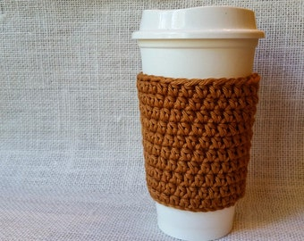 Bronze Cup Sleeve Eco Friendly Reusable Handmade Gift Housewarming Gift Teacher Gift Stocking Stuffer Coffee Cup Cup Cozy Crochet Cozy