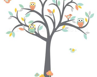 Owl Tree Wall Decal, Nursery Wall Decal, Coral, Yellow, Turquoise, Tree