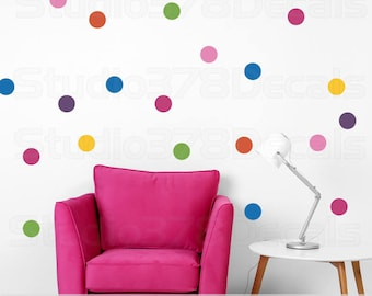 Polka Dot Decals | Polka Dots Vinyl Wall Decals for Baby Nursery |  Rainbow Wall Dots |  Colorful Trend Decor | Circle Wall Decals | Set 40