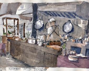 Local Chef in Bangkok: An original watercolour sketch work, Thailand.