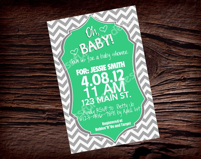 PERSONALIZED SHOWER INVITATION Modern Baby Shower Invitations in multiple colors, Modern Baby Shower Invitation, Chevron Baby Shower