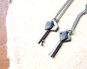 Vintage Key Necklace with Pewter Strawberry Charm