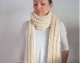 Chunky Knit Fringe Scarf, Wool Ribbed Knit Scarf, Fringe Scarf White - Fisherman Marion Scarf