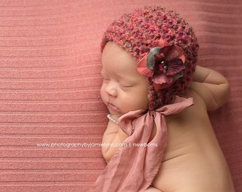 Silk Ties Baby Girl Bonnet Newborn Photo Prop Hand Knit Coral Cap Ready Ship Knitted Going Home Hat Infant Organic Mohair Coming Outfit Fall