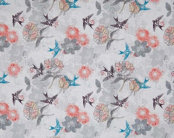 Marbella Bird Floral  12630 White by 3 Wishes Fabric
