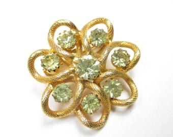 Vintage Brooch Gold Tone Green Rhinestone Flower Shape Costume Jewelry