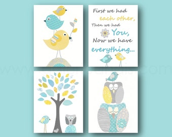 Aqua yellow blue and gray, Nursery Art, Baby nursery decor, Owl nursery, First we had each other, Quote art, Birds nursery, Set of 4 prints