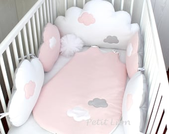 Baby cot bumpers for 60cm wide bed, 5 cloud cushions or pillows, pale pink, white and grey