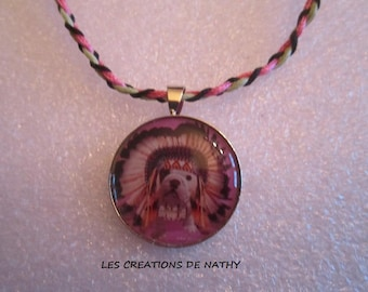 Ethnic style with braided cord and apache dog cabochon pendant necklace