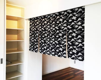 Japanese fuji noren curtain, Order made black and white noren, fuji curtain, japanese fabric, wall fabric panel, 4 panel curtain tissu