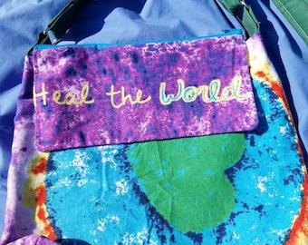 Heal the World, Cook Dinner Tonight, handmade crossbody bag, handmade purses, unique bags,unique handmade purses, one of a kind artistic bag