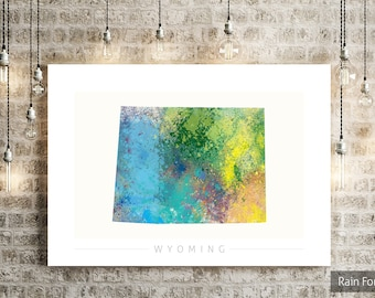 Wyoming Map - State Map of Wyoming - Art Print Watercolor Illustration Wall Art Home Decor Gift - NATURE PRINT