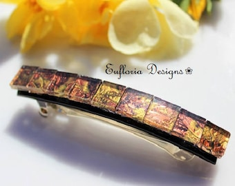 Large French Barrette   Unique Hair Accessories   Copper & Gold Barrette   Strong Non Slip Hair Barette   Stained Glass Hair Clip   Handmade
