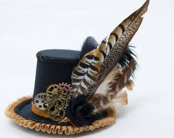 Steampunk Octopus feathered rose mini top hat fascinator