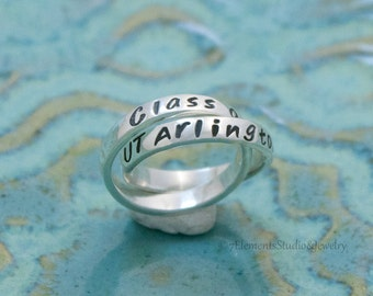 Graduation Ring, Sterling Silver Class Ring, Personalized High School Ring, College Rings