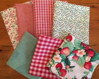 Farm House Themed Cotton Fabric Remnant Bundle