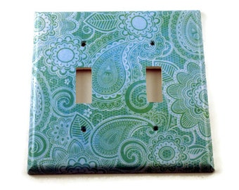 Double Light Switch Cover  Wall Decor Switch Plate Switchplate in  Teal Paisley  (219D)