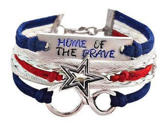 Patriotic Bracelet, 4th Of July Outfit Accessories, Star Bracelet, Patriotic Jewelry, Red White and Blue Jewelry, Hand Stamped Jewelry