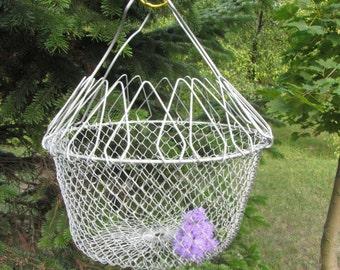 Egg Medium Basket, Rustic Kitchen Basket, Vintage Wire Basket, Egg Metal Basket, Industrial Decor Basket, Market Basket, Collapsible Basket