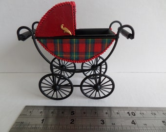 1:12th Baby Pram for the Dolls House (Tartan & Red leather)