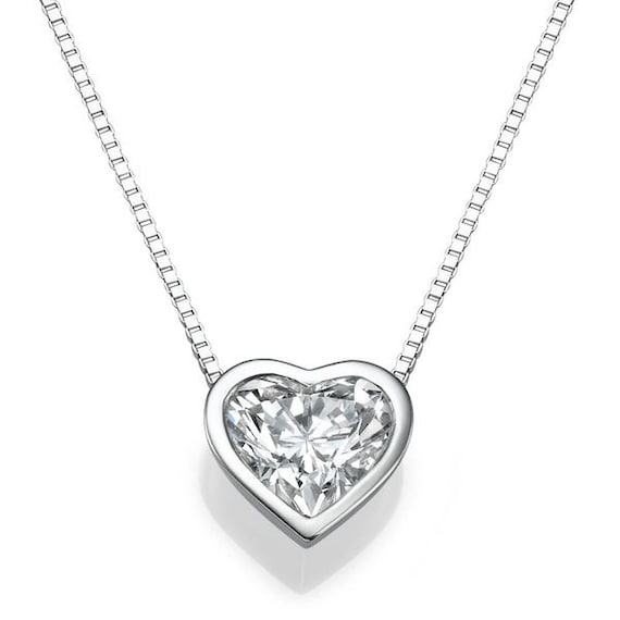 Heart diamond pendant necklace 14k white gold necklace 1 ct aloadofball Gallery