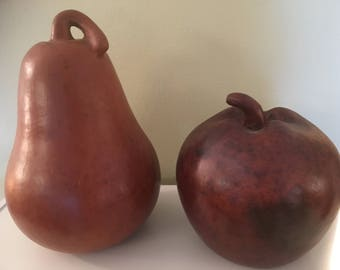Home Decor---Large Clay Apple and Pear