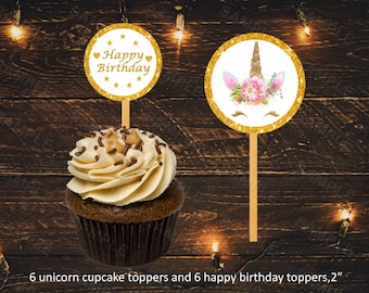 Unicorn cupcake topper, unicorn party decoration, unicorn wrapper, unicorn horn, instant download, gold glitter, unicorn printable, digital