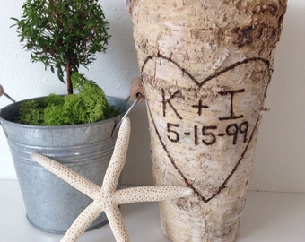 "Anniversary Gift Personalized Birch Bark Vase, Tall Rustic 9"" Vase, Wood Wrapped Planter, Anniversary, Custom Birch and Zinc Flower Pot"