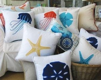 Nautical Pillow, Sealife Pillow Cover, Coastal Pillow, Seahorse Pillow, Starfish Pillow, Coastal Pillow Covers
