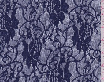 Navy Sea Blue Floral Vine Stretch Lace, Fabric By The Yard
