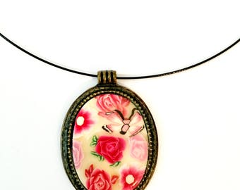 Flower Necklace, Unique Women's polymer clay Millefiori pendant Chain by Orly Kliger