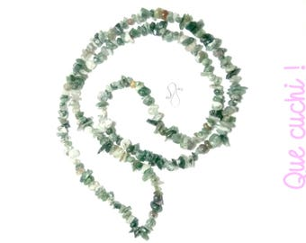 Necklace of 85 cm around the neck in Moss Agate