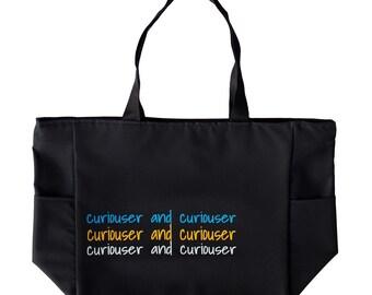 Alice in Wonderland, tote bag, purse, curiouser and curiouser, medium black zip top tote bag/ purse, beach bag.
