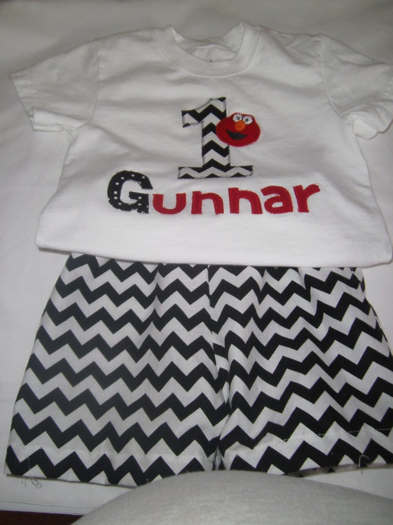 Personalized Elmo Birthday Outfit,  Shorts Chevron, Appliqued Tee with Birthday Number,Personalized FREE,Infabt,Toddler