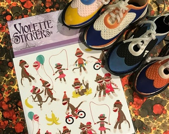 Violette Planner Stickers - Sock Monkeys Stickers for Crafting-2 sheets