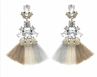 Tassel earrings, tassle earrings, fringe earrings, bohemian earrings, boho earrings, crystal earrings, bridesmaid gift, statement earrings