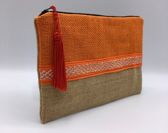 pouch / toiletry makeup/organiser bag in Burlap