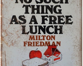 """Milton Friedman No Such Thing As A Free Lunch 10"""" x 7"""" Reproduction Metal Sign"""